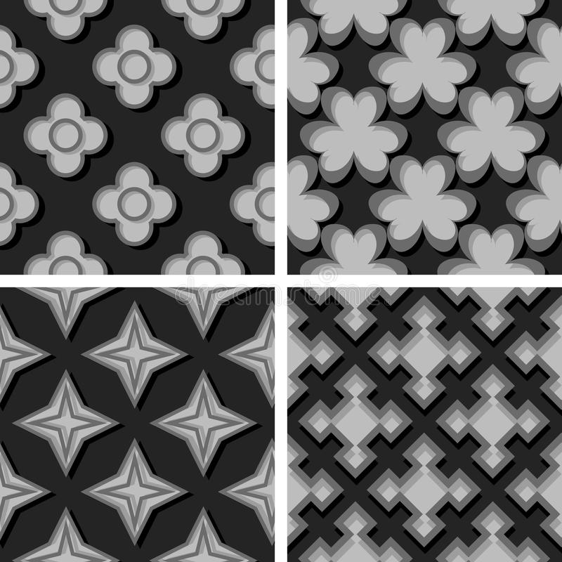 Seamless geometric patterns. Set of black and gray 3d backgrounds royalty free illustration