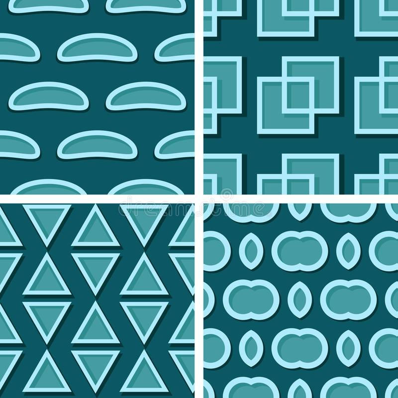 Seamless geometric patterns. Set of blue green 3d backgrounds royalty free illustration