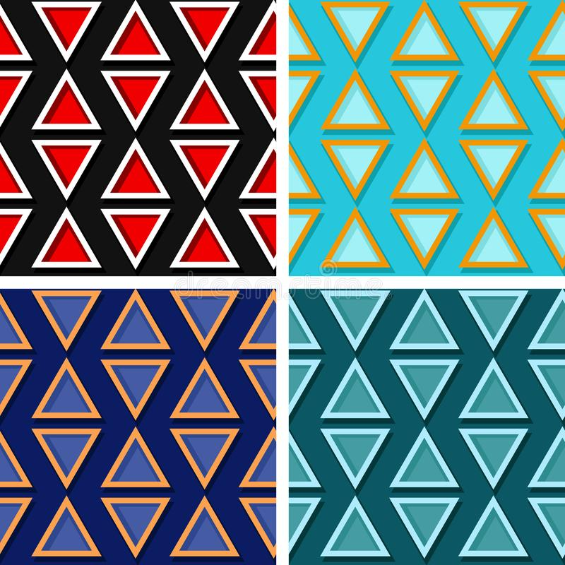 Seamless geometric patterns. Set of colored 3d backgrounds royalty free illustration
