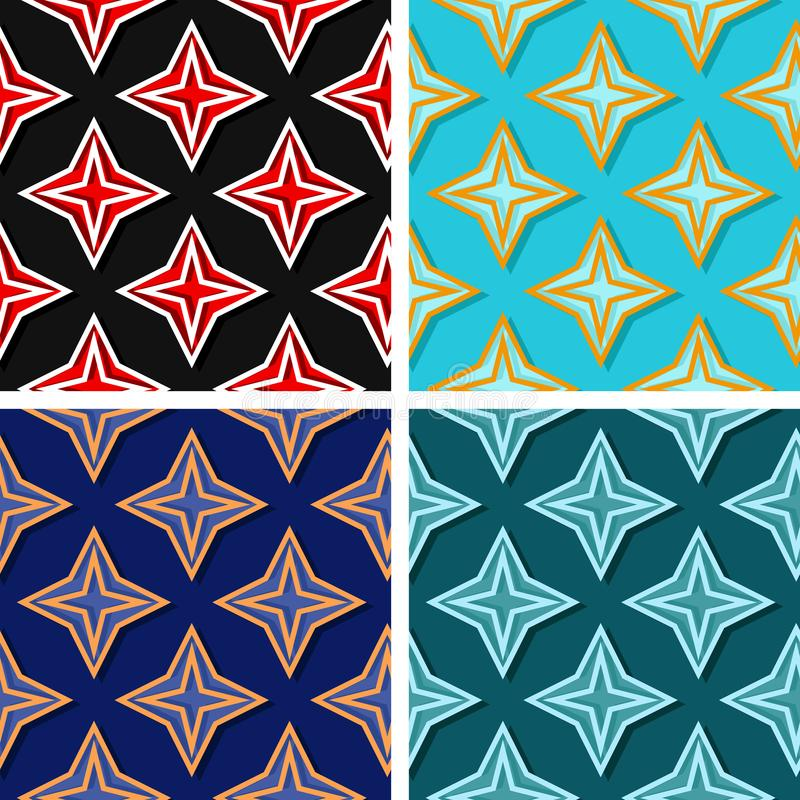 Seamless geometric patterns. Set of colored 3d backgrounds stock illustration