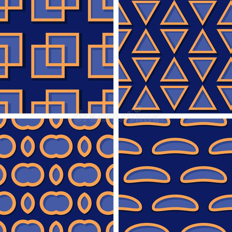 Seamless geometric patterns. Set of deep blue 3d backgrounds with orange elements royalty free illustration