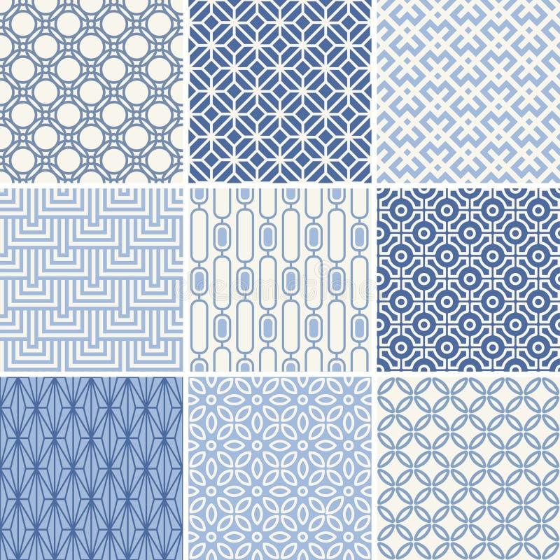 Seamless geometric patterns set vector illustration