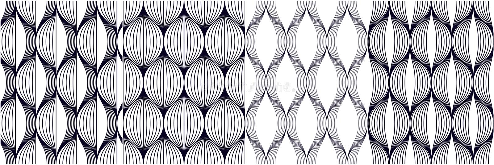 Seamless geometric patterns set. Geometric simple fashion fabric prints. Vector repeating tile textures collection. Wavy curve vector illustration