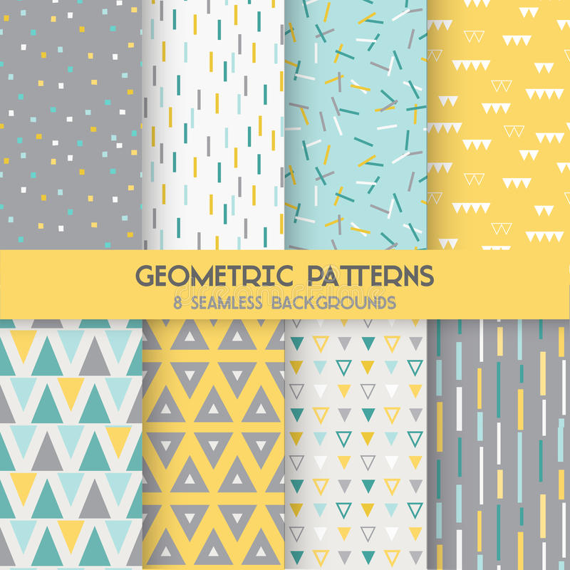 8 Seamless Geometric Patterns vector illustration