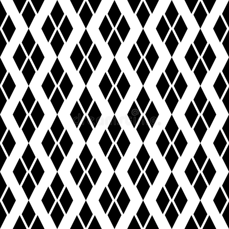 Black and white Geometric texture with rhombuses. Diamonds seamless pattern. SEAMLESS, GEOMETRIC REPEAD,PRINTING .BED SHEET, ,DOMESTIC PATTERN, DESIGN, ROOF stock illustration
