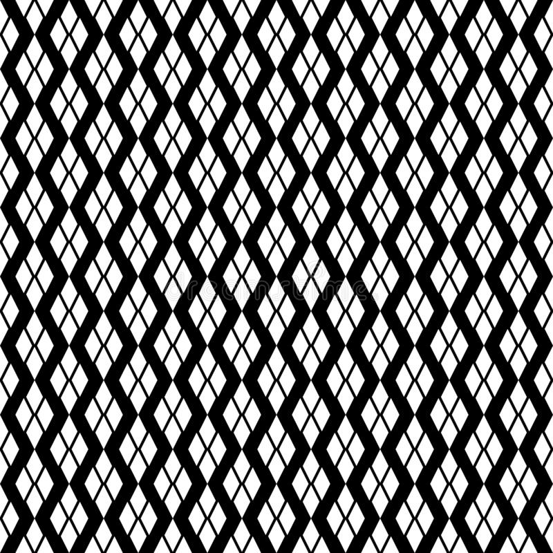 Black and white diagonal Geometric texture with rhombuses. Diamonds seamless pattern. SEAMLESS, GEOMETRIC REPEAD,PRINTING .BED SHEET, ,DOMESTIC PATTERN, DESIGN royalty free illustration