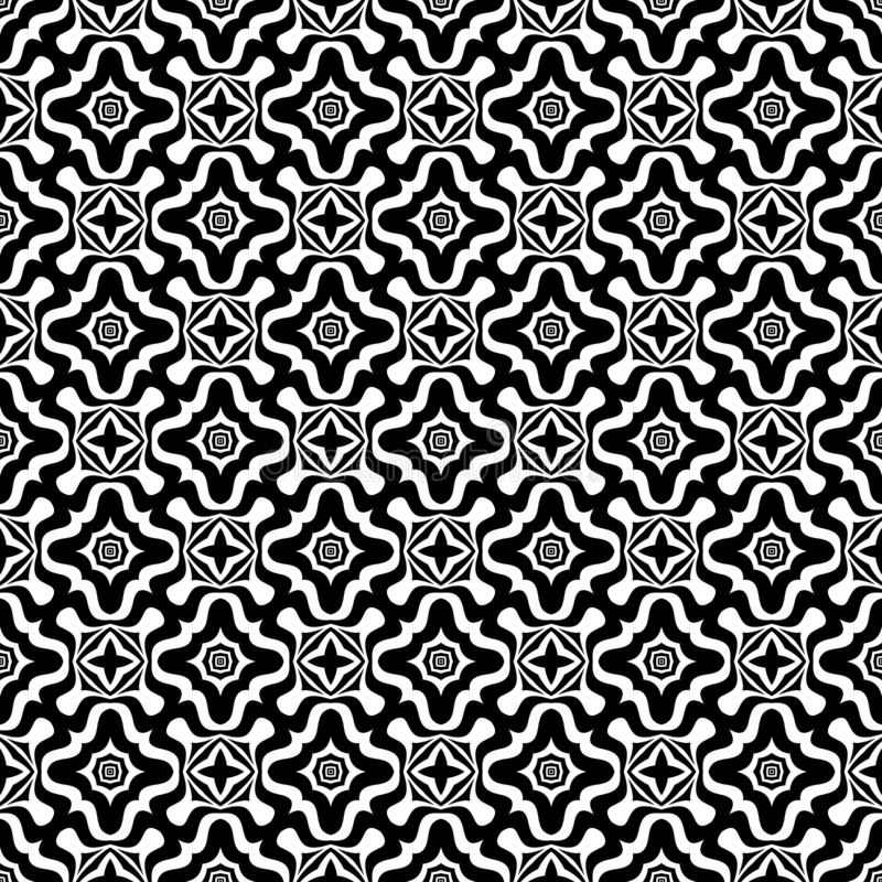 Black and white seamless repeated geometric art pattern background. Textile, books. SEAMLESS, GEOMETRIC REPEAT ,PRINTING .BED SHEET, ,DOMESTIC PATTERN ,SMALL royalty free illustration