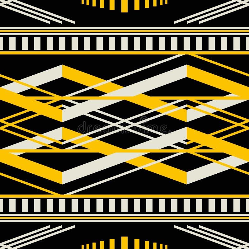 Seamless geometric retro pattern in black, yellow, dusty white c royalty free illustration