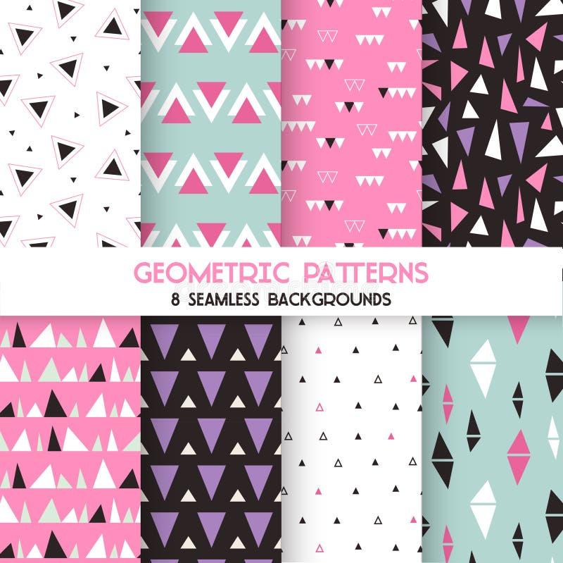 8 Seamless Geometric Triangles Patterns vector illustration