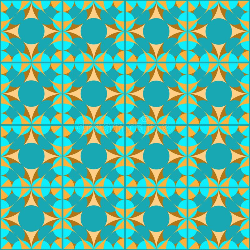 Seamless geometric turquoise pattern on checked background stock illustration