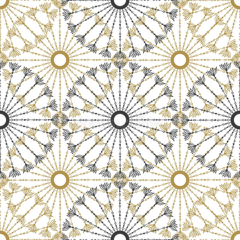 Seamless geometric vintage pattern. Vector black and gold circle retro texture. vector illustration