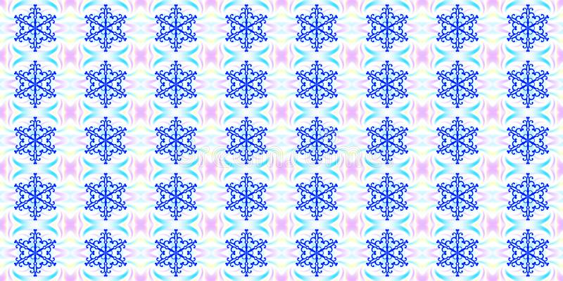 Seamless geometric winter pattern with blue snowflakes and abstract elements, light background. Texture for vector illustration
