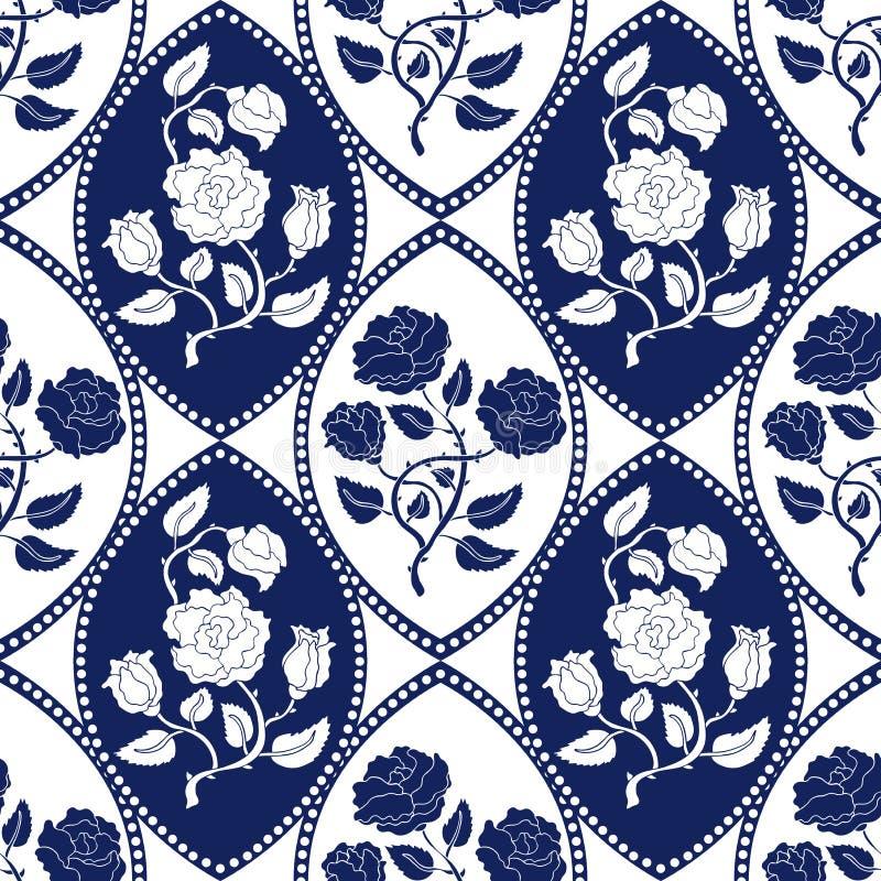 Seamless Geometrical Damask Pattern With Art Nouveau Motifs. Stock ...