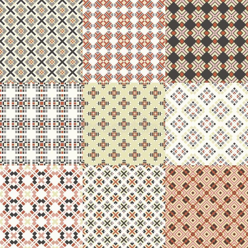 seamless geometrical patterns stock illustration