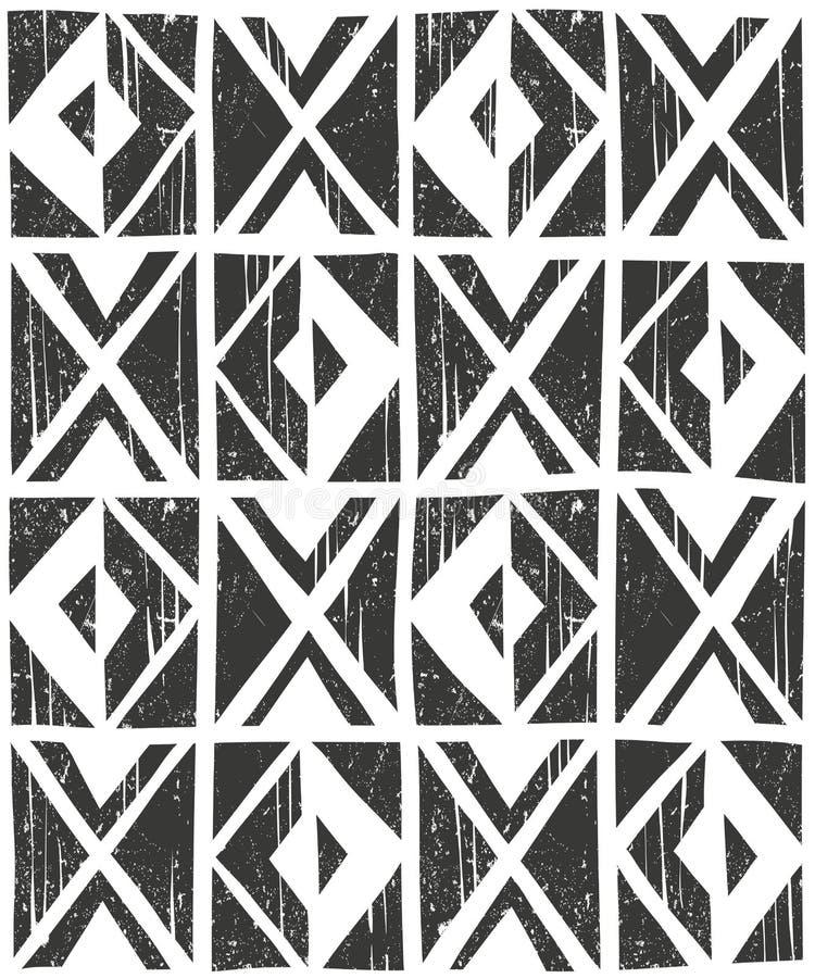 Seamless geometrisk modell för vektor illustratören för illustrationen för handen för borstekol gör teckningen tecknade som look  vektor illustrationer