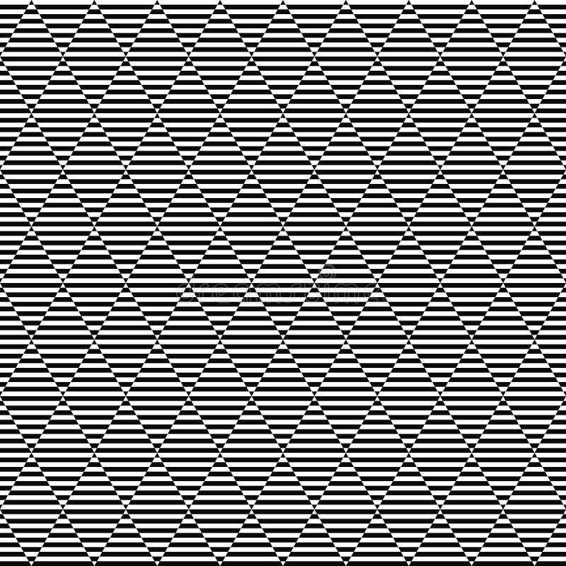 Seamless geometrisk modell för vektor randig textur Svartvit bakgrund Monokrom rombformad design med band vektor illustrationer