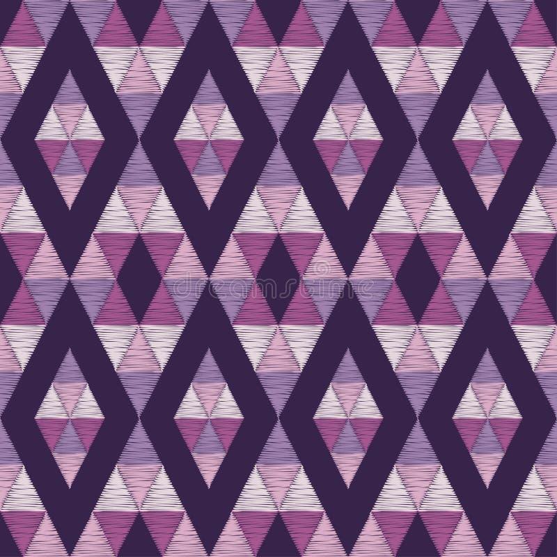 seamless geometrisk modell Modellen av kulöra trianglar Klottra textur stock illustrationer