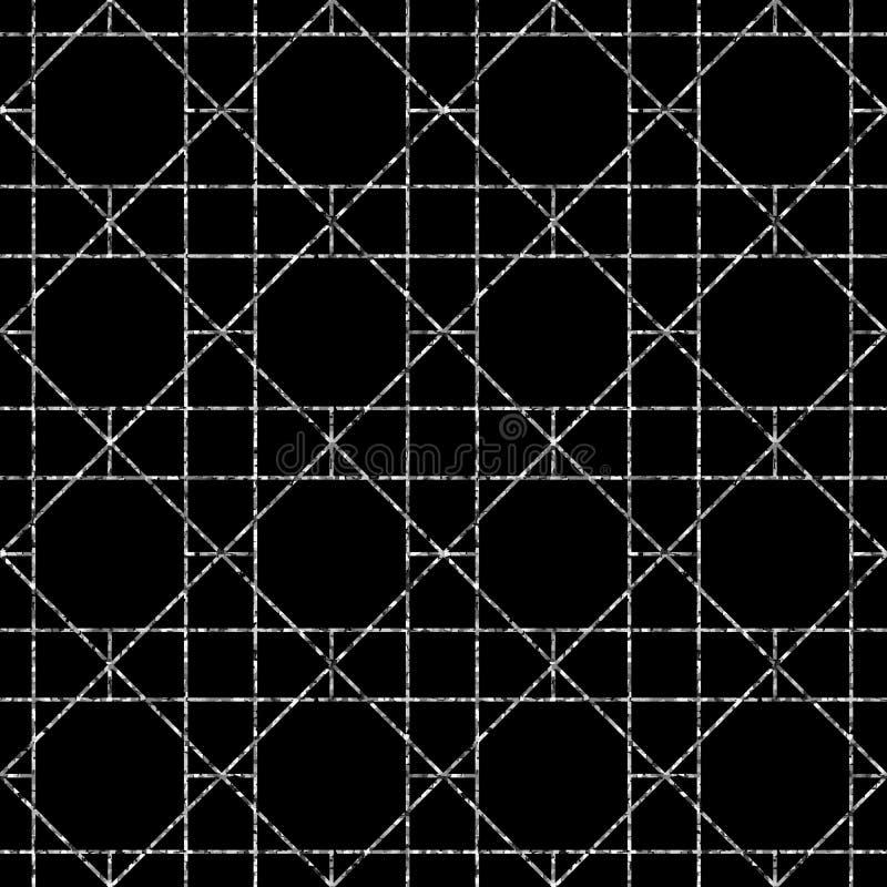 seamless geometrisk modell Vektorbakgrund i svartvit färg stock illustrationer