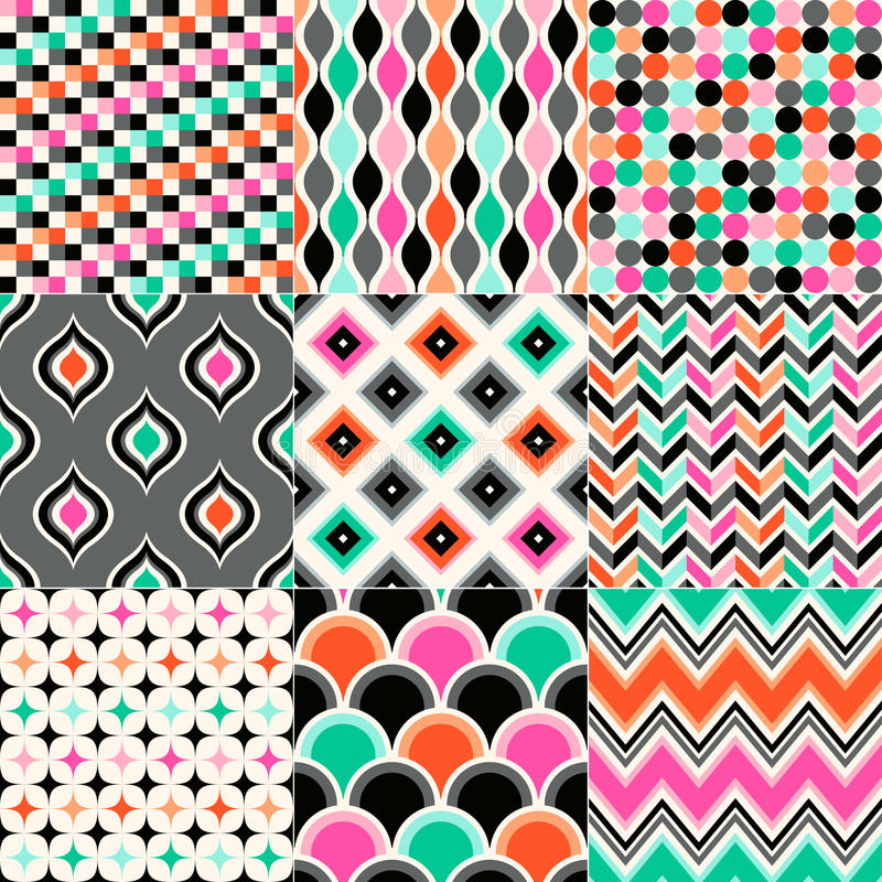 Seamless geometrisk modellSet stock illustrationer