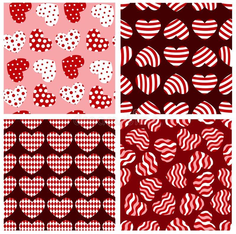 seamless geometriska hjärtor vektor illustrationer