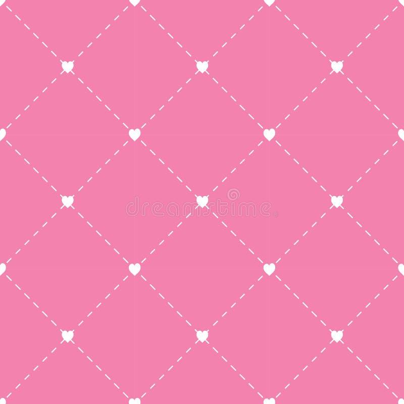 Seamless geometriska mönstrar med hjärtor upprepa textur vektor royaltyfri illustrationer