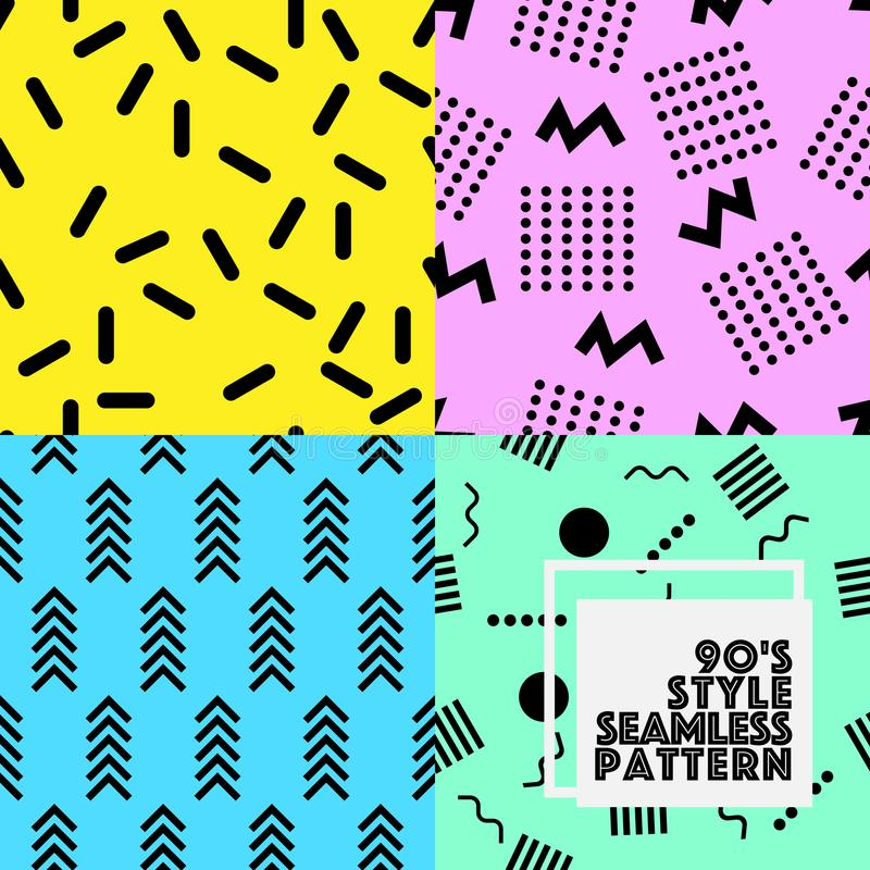 Seamless geometry vector pattern 80-90S style collection set royalty free illustration