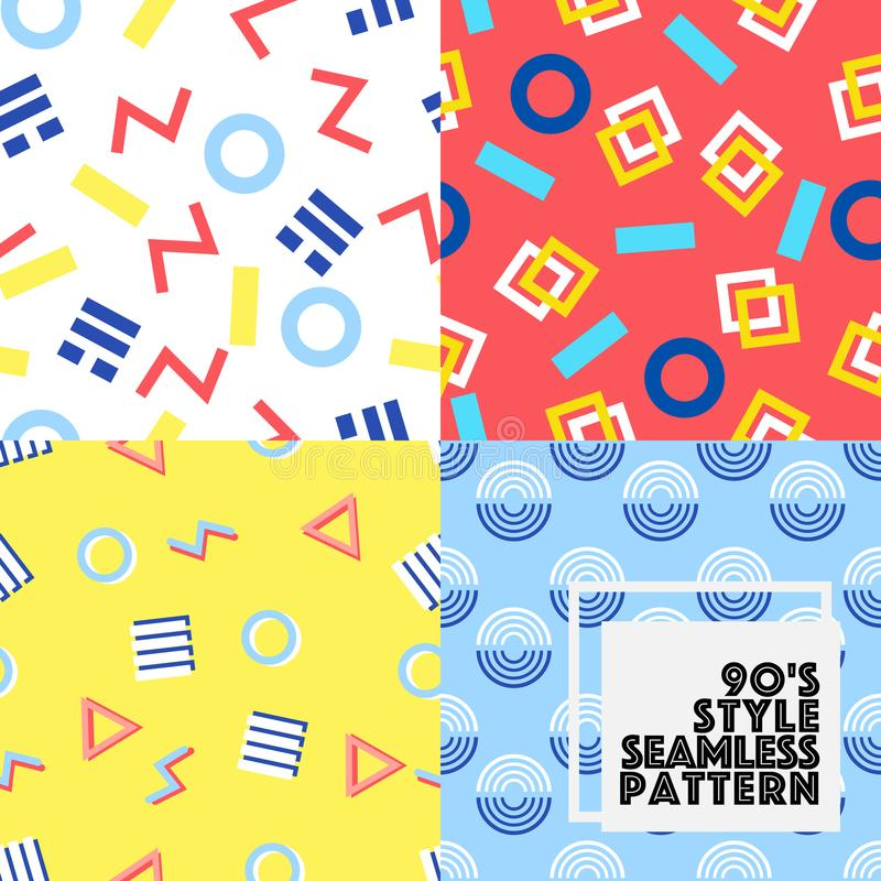 Seamless geometry vector pattern 80-90S style collection set. royalty free stock photos