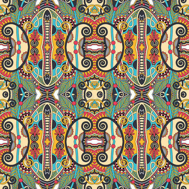 Seamless geometry vintage pattern, ethnic style. Ornamental background, ornate floral decor for fabric design, endless texture vector illustration