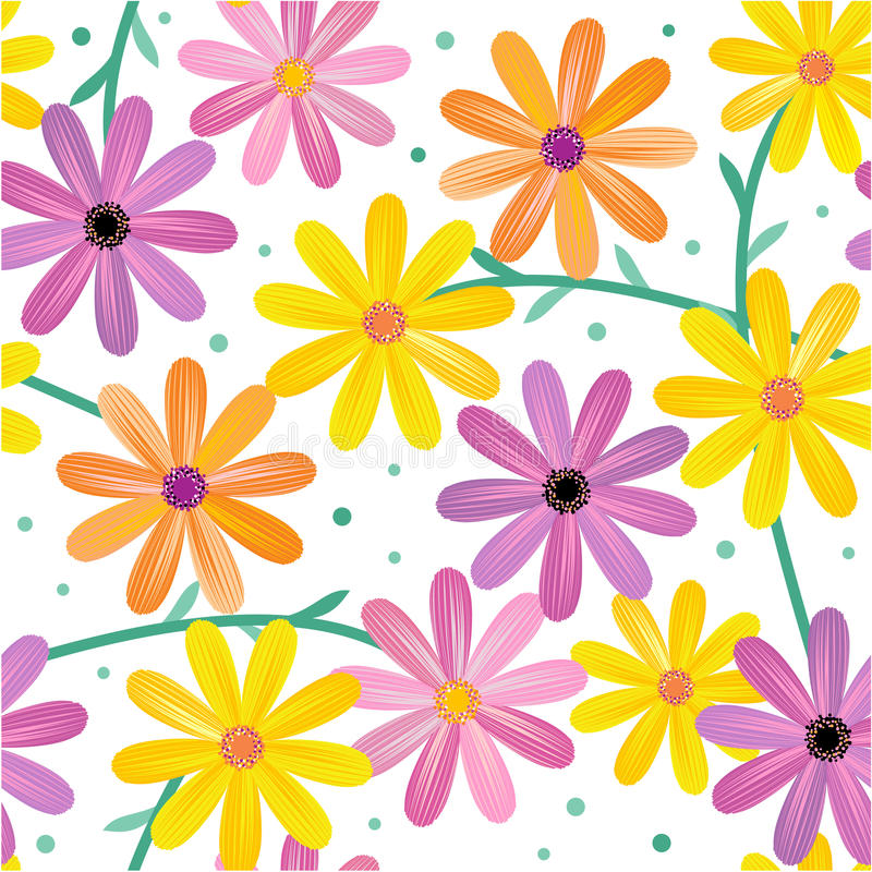 Free Seamless Gerbera Flowers Pattern Royalty Free Stock Image - 20064876