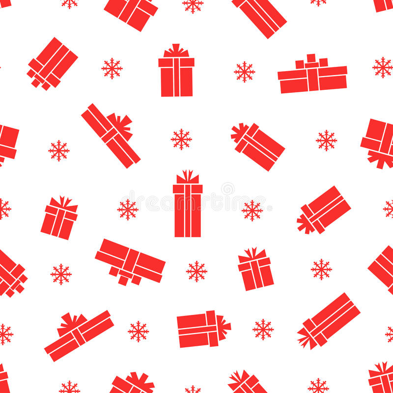 Seamless gift box pattern, red gift boxes on white background stock illustration