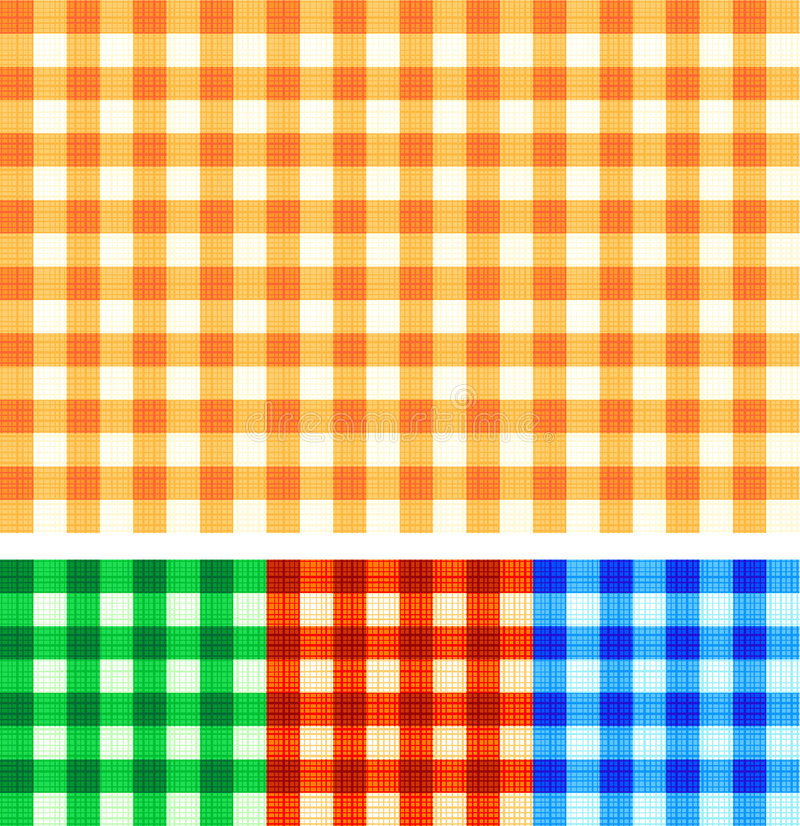Seamless gingham checked patterns of autumn colors stock illustration