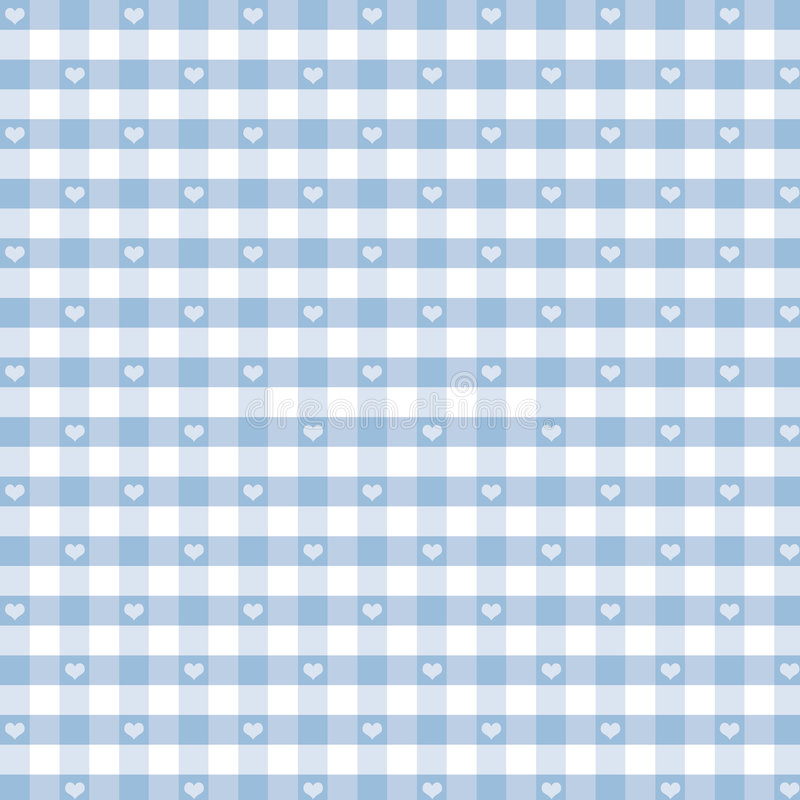 Gingham and Hearts Seamless Background, Pastel Blue royalty free illustration