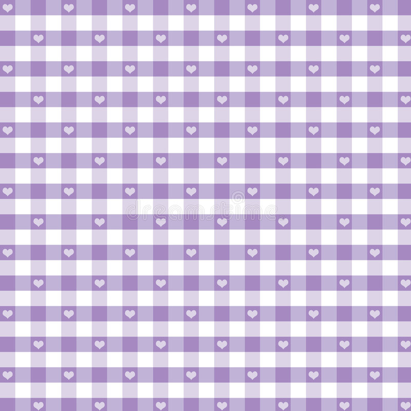Download Seamless Gingham & Hearts, Pastel Lavender Stock Photo - Image: 5773300
