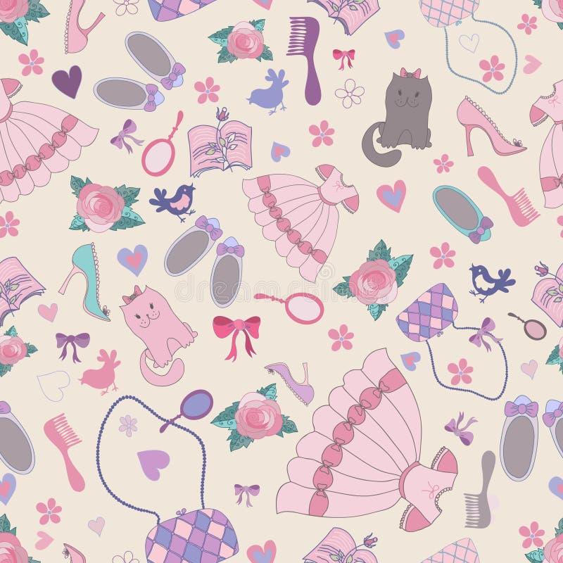 seamless girlish patten vektor illustrationer