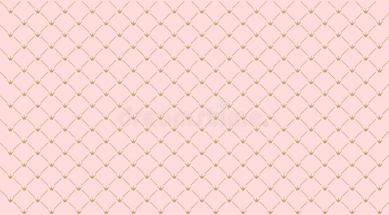 Seamless girlish pattern.Gold crown on pink background. Backdrop for invitation card, wrapper and decoration party wedding, baby girl shower, birthday Cute vector illustration