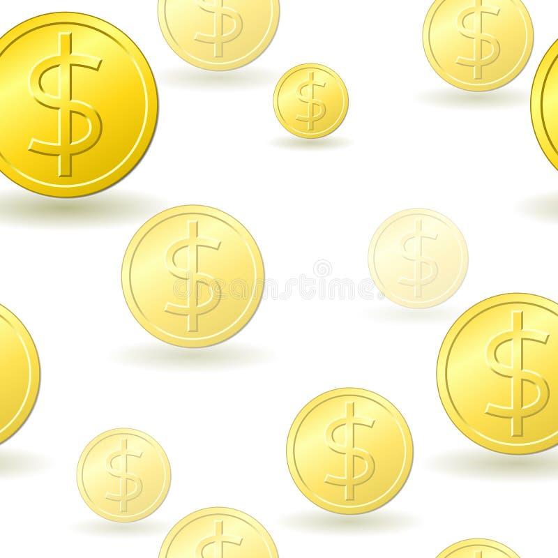 Seamless Gold Dollar Coin Pattern Stock Photos