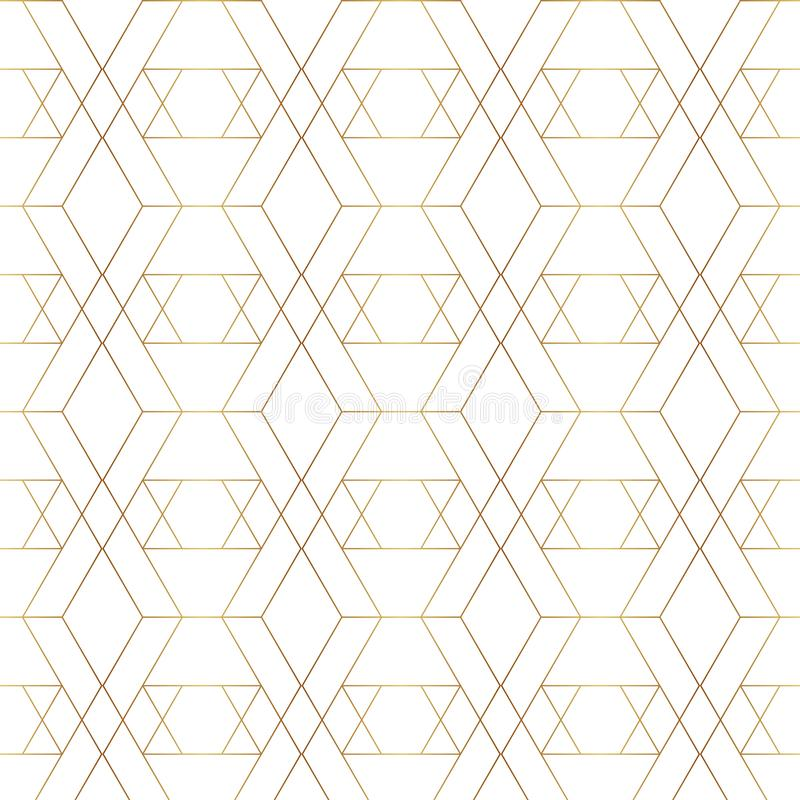 Seamless gold line geometric pattern. Background with rhombus, triangles and nodes. Golden texture. royalty free illustration