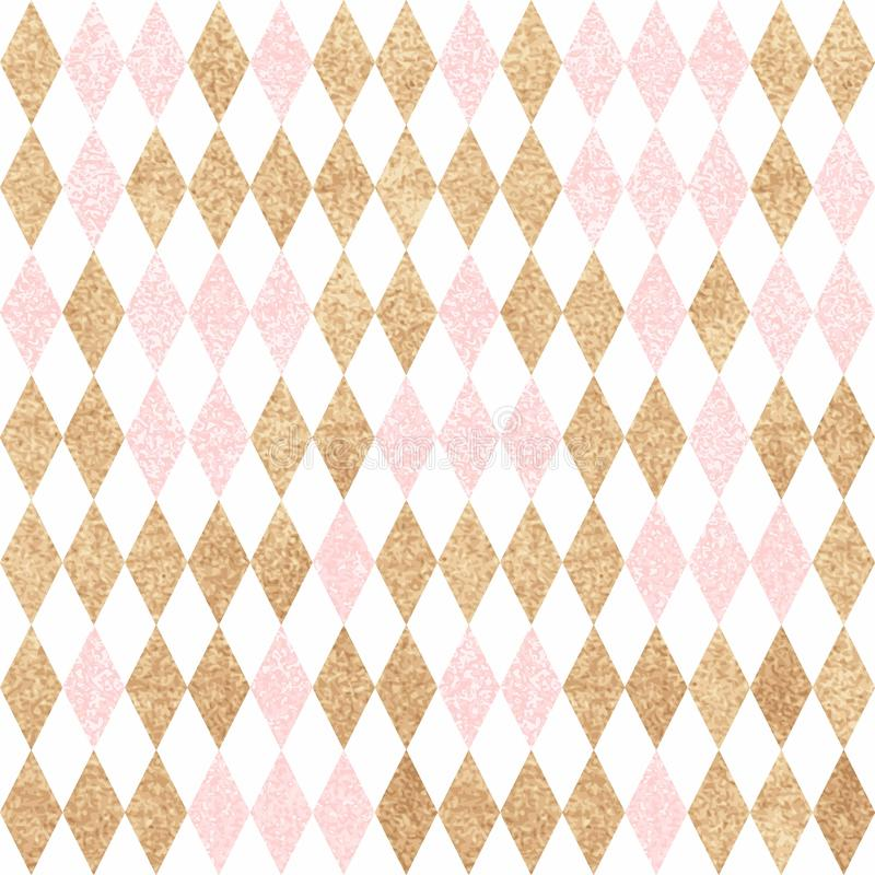 Free Seamless Gold Pattern. Golden And Pink Diamonds On A White Backg Stock Photography - 75886032