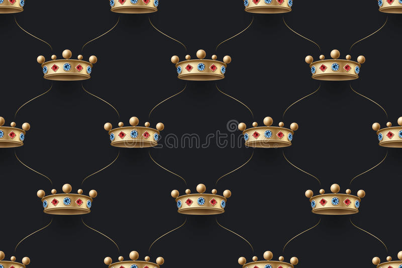 Seamless gold pattern with king crown with diamond on a dark black background. Vector Illustration. stock illustration