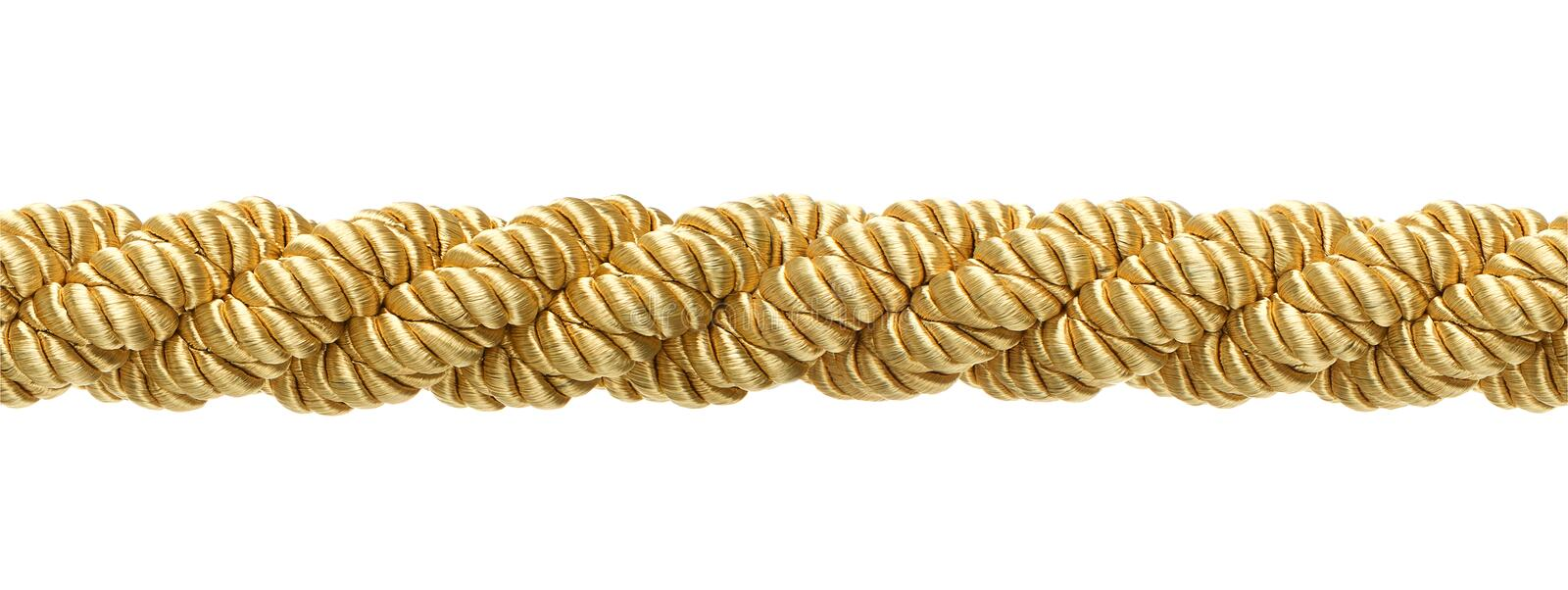 Seamless gold rope. Isolated on white background stock photo
