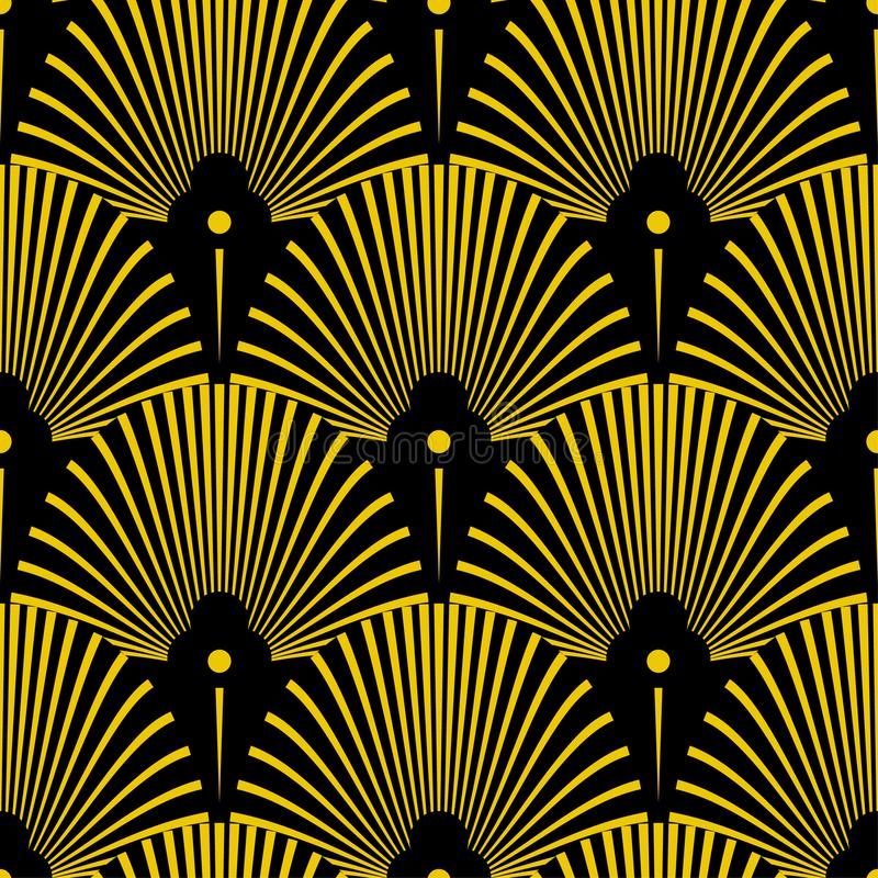 Seamless golden Art Deco pattern with abstract shells. Vector fashion backdrop in vintage style. stock illustration