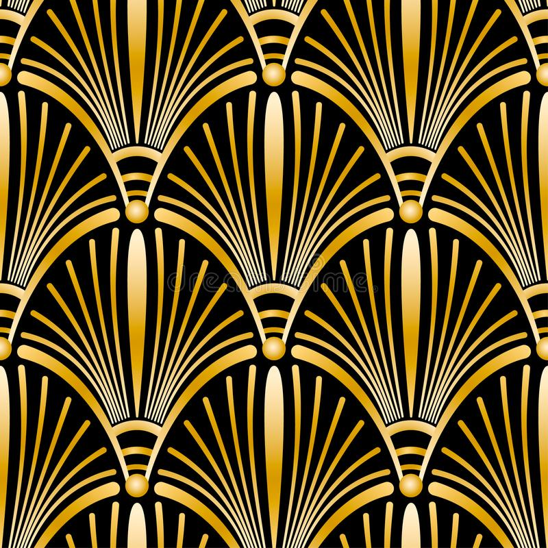 Seamless golden Art Deco pattern with abstract shells. vector illustration