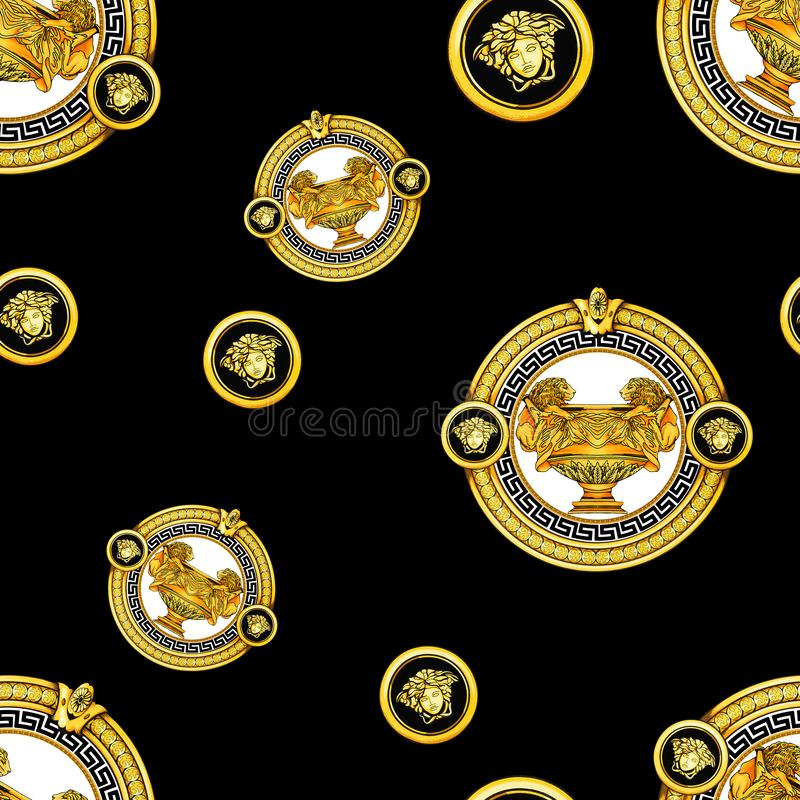 Seamless Golden Baroque Fashionable mandala in vintage style, endlessly pattern for textile, scarves, design and backgrounds, Read. Y for prints royalty free illustration