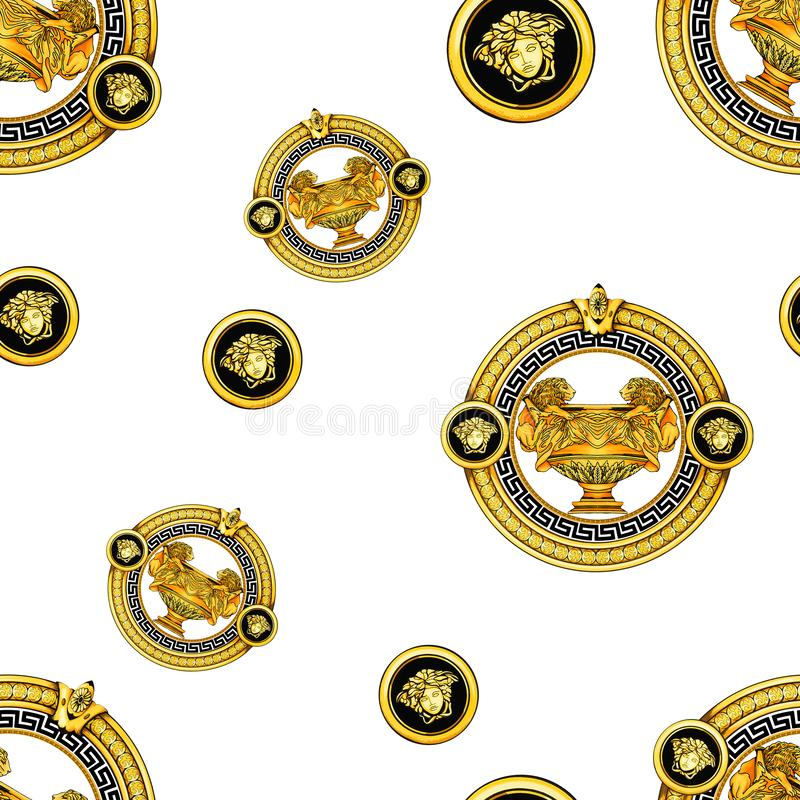 Seamless Golden Baroque Fashionable mandala in vintage style, endlessly pattern for textile, scarves, design and backgrounds, Read. Y for prints vector illustration