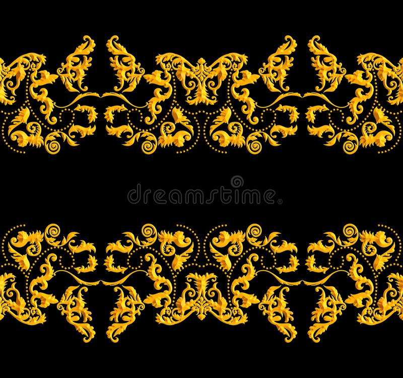 Seamless Golden Baroque Luxury Design on Black Background. Vintage Style Pattern Ready for Textile and Silk Print.  stock illustration