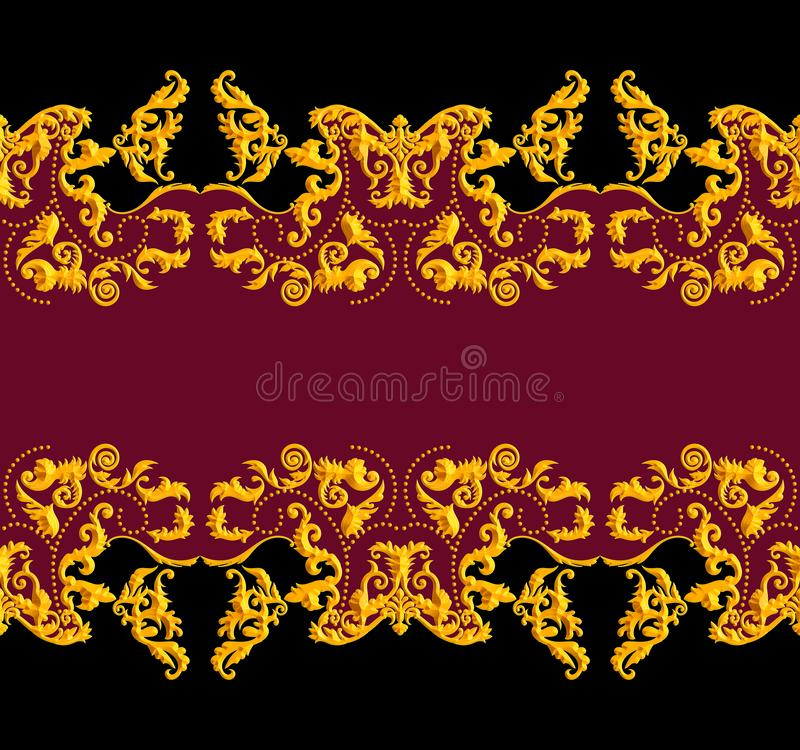 Seamless Golden Baroque Luxury Design on Black and Red Background. Vintage Style Pattern Ready for Textile and Silk Print.  stock illustration