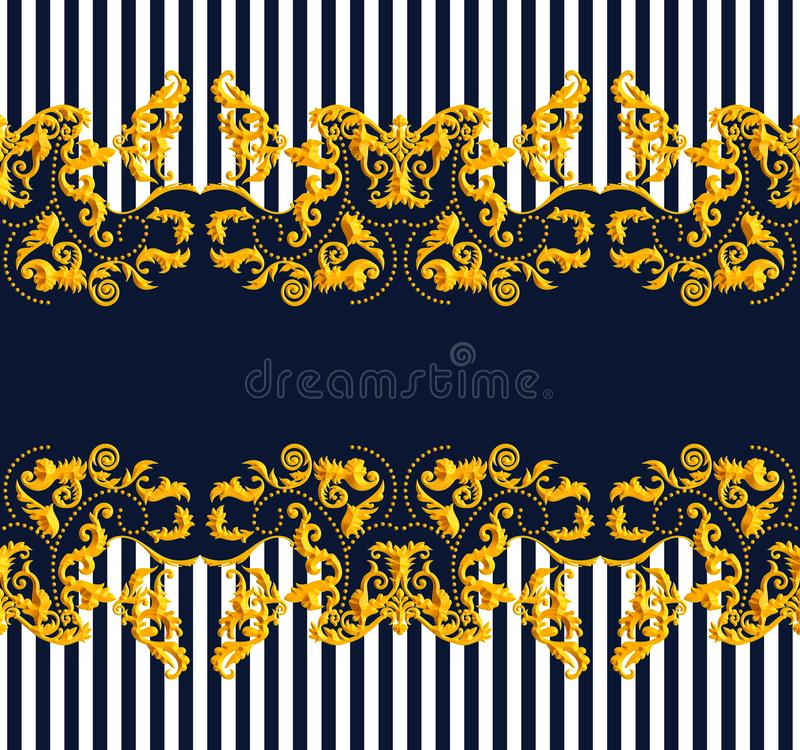 Seamless Golden Baroque Luxury Design with lines on Dark Blue Background. Vintage Style Pattern Ready for Textile and Silk Print.  vector illustration