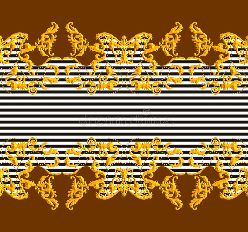Seamless Golden Baroque Luxury Design with lines on Dark Brown Background. Vintage Style Pattern Ready for Textile and Silk Print.  vector illustration