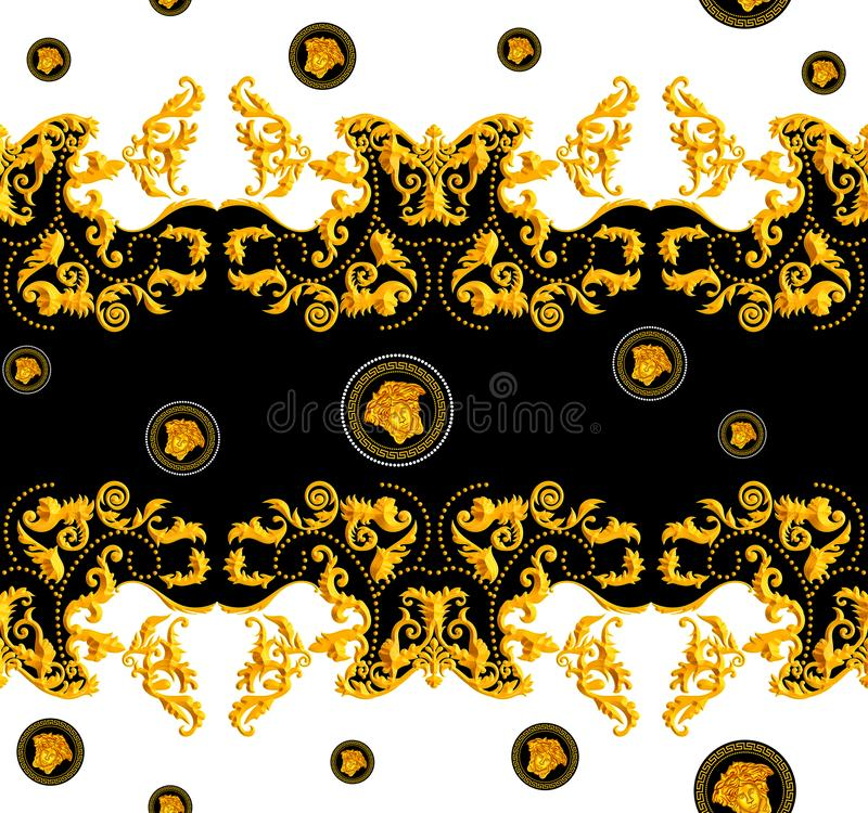 Seamless Golden Baroque with Versace Design on Black and White Background. Vintage Style Pattern Ready for Textile and Silk Print.  stock illustration