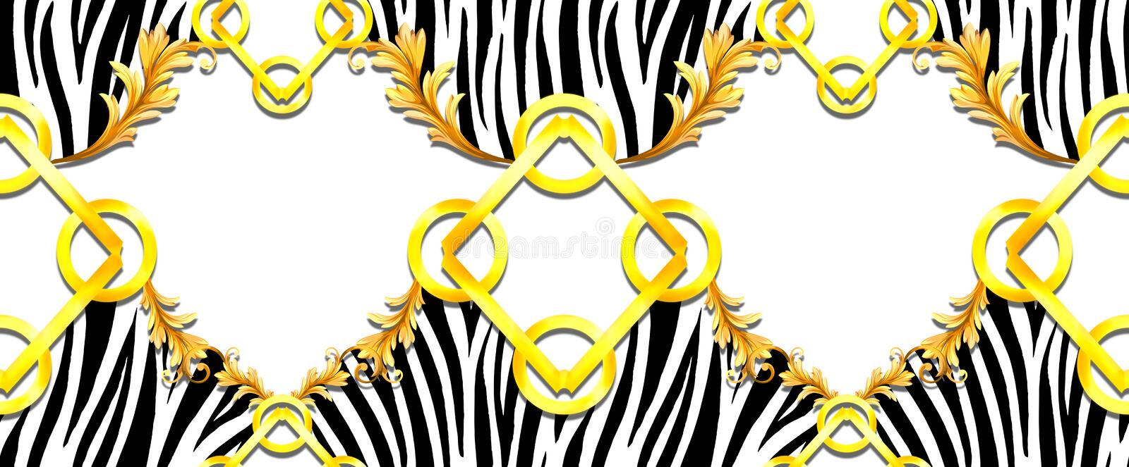 Seamless Golden Baroque with Zebra Pattern on Black Background. Ready for Textile Prints. Silk Scarf Pattern.  royalty free illustration